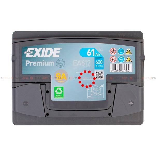 Аккумулятор EXIDE Premium 6CT 61Ah EA612